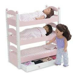 Emily Rose 18 Inch Doll Bed Furniture | Pink and White Tripl