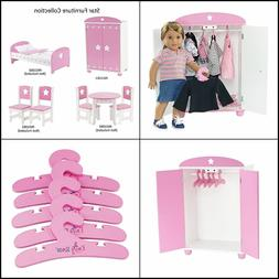 18-inch Doll Furniture | Pink Armoire with Star Detail Comes