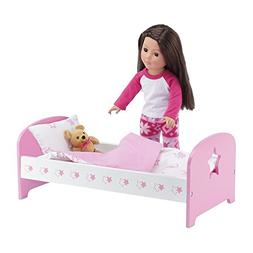 18 Inch Doll Bed Furniture | Lovely Pink and White Single Be