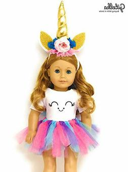 Genius Dolls Unicorn Clothes, Headband, Tutu -fits all 18 in