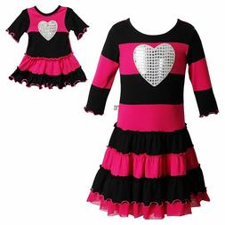 Girl 10 12 and Doll Matching Pink Heart Valentine's Dress Cl