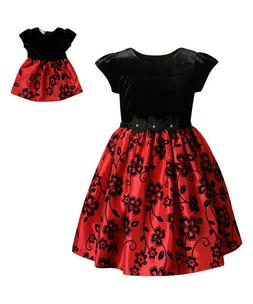 Girl 4-12 and Doll Matching Red Black Fancy Party Holiday Dr