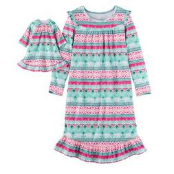 Girl 12 and Doll Matching Fair Isle Nightgown Clothes Americ