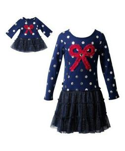 Girl 4-14 and Doll Matching Navy Silver Red Bow Dress Clothe