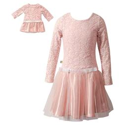 Girl 4-14 and Doll Matching Pink Lace Mesh Holiday Dress Clo