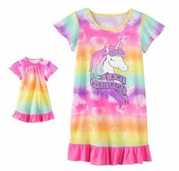 Girl 4-14 and Doll Matching Unicorn Nightgown Clothes ft Ame