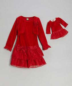 Girl 8-10 and Doll Matching Lace Christmas Party Holiday Dre