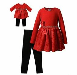 "Girl and 18"" Doll Matching Christmas Dress Leggings Outfit f"