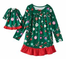 Girl and Doll Matching Christmas Nightgown Clothes fit Ameri
