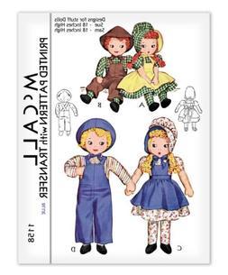 Girl Boy Rag Cloth Doll + Clothes Bonnet Apron Dress Sewing
