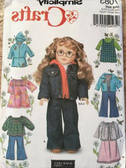 "18"" Girl DOLL Clothes Jeans Jacket Simplicity 7083 American"