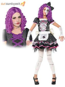 Girls Broken Damaged Doll Halloween Costume Zombie Kids Fanc