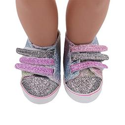 Gbell Glitter Canvas Shoes for 18 Inch Our Generation Americ