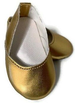Gold Princess Shoes made for 18 inch American Girl Doll Clot