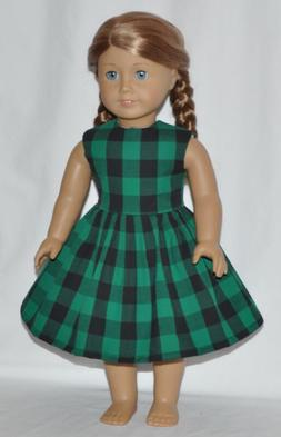 Green Black Plaid Country Style Doll Dress Clothes Fits Amer