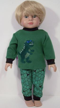"GREEN Dinosaur Pajamas Pjs Doll Clothes For 18"" American Gir"