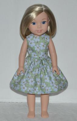 Green Floral Doll Dress Clothes Fits American Girl Wellie Wi