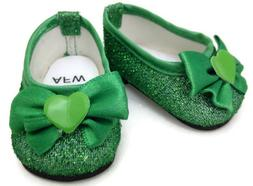 Green Glitter Dress Shoes made for 18 inch American Girl Dol