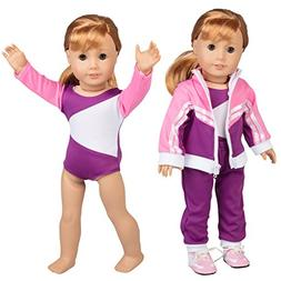 Gymnastics Outfit for American Girl Dolls: 4 Piece Doll Outf