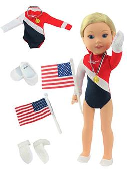 American Gymnastics 5 pc Set-Fits 14 Inch Wellie Wisher Doll