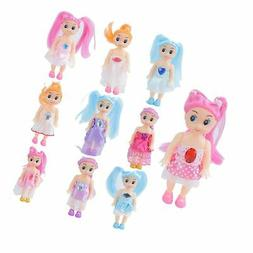 Huang Cheng Toys Pack of 10 4'' Mini Doll with Colorful Clot