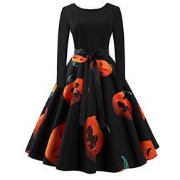 5d65c7c02de Halloween Womens Dress DEATU Clearance Ladies O Neck Long Sleeve