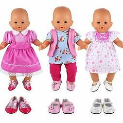 BARWA Handmade 3 Pcs Dresses Clothing and 3 Pairs Shoes Love