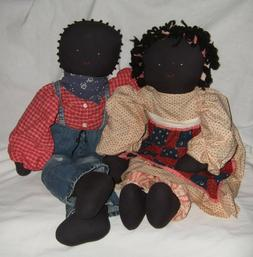 Handmade Cloth Doll African American Embroidered Face, Yarn