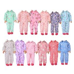 Handmade Doll Clothes Pajamas Sleepwear for 18 inch Girl Dol