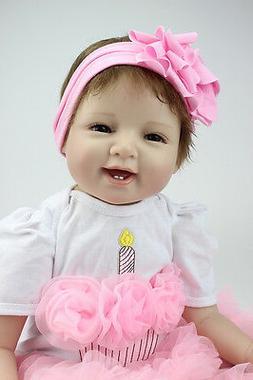 "Handmade Lifelike Baby Girl Doll 22"" Silicone Vinyl Reborn N"