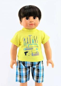 """Handyman Plaid Shorts Set Fits 18"""" American Boy or Girl Doll"""