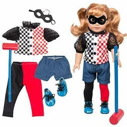 Harley Quinn DC Inspired Doll Outfit - 6pcs Superhero Costum