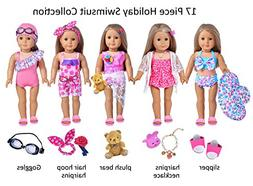 Ebuddy 17 Piece Hawaii Holiday Doll Swim Accessories-18 inch