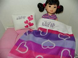 Heart Print Doll Bedding : Personalized for American Girl We