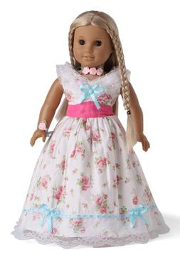 Doll Clothes Historical Costume Floral Dress Fits 18 Inches