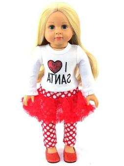 "I Love Santa Christmas Outfit Pant Set  Fits 18"" American Gi"