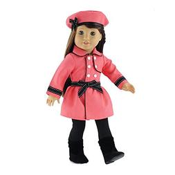 18 Inch Doll Clothes | Lovely Coral and Black Traveling Coat