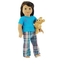 18 Inch Doll Clothes Plaid Pajamas with Teddy Bear   Fits 18