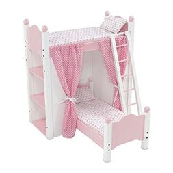 18 Inch Doll Furniture | White Loft Bunk Bed with Shelving U