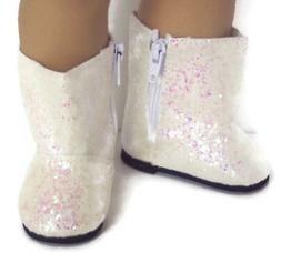 Ivory Sparkle Boot Shoes made for 18 inch American Girl Doll