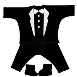 Jacqui's Baby Boys' Black with White Lapels Tuxedo Suit, Mic