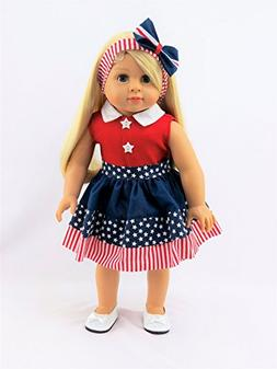"4th of July Stripe Dress -Fits 18"" American Girl Dolls, Mada"