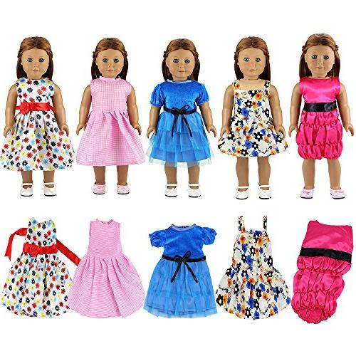 BARWA Clothes 5 Sets Outfits and 5 Dress Inch Dolls Xmas