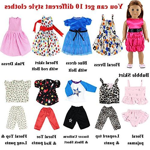BARWA Sets Clothes 5 Sets Clothes Outfits and Sets Dress with 18 Inch Dolls