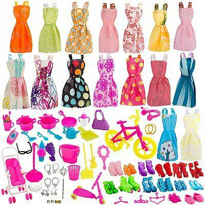 130 Pcs Doll Clothes Huge Lot Gown Outfits Party Accessories Barbie Girl NEW