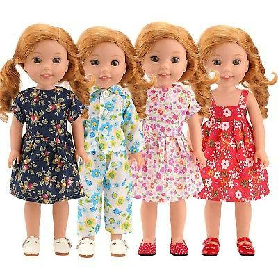 Barwa 14 inch Clothes 4 Pair Doll Cloth...