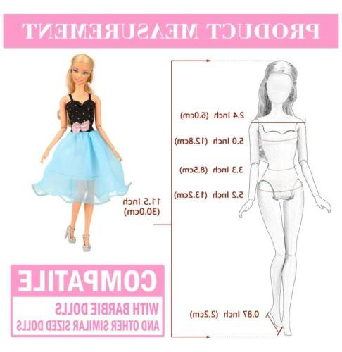 BARWA 16 Doll Clothes and Accessories PCS Fashion Dresses 5 Tops