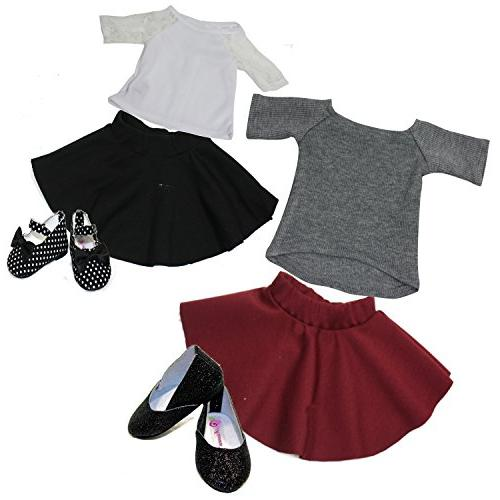 18 Inch Doll Clothes|Bundle 2 COMPLETE OUTFITS | White Top |