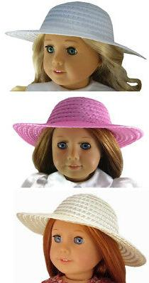 "For 18"" American Girl Doll Clothes Lot of 3 Straw Hats White"