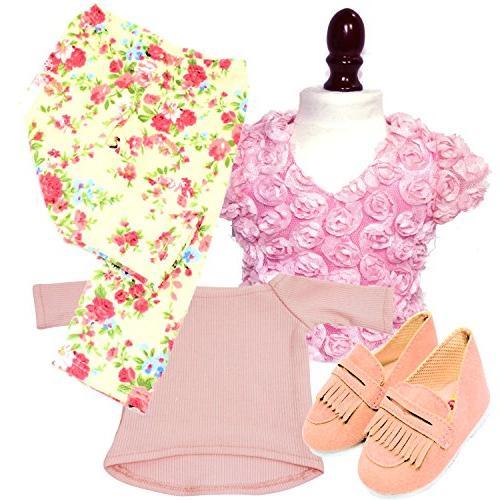 18-inch Doll Clothes | Value Bundle - Floral Legging |2 Pink